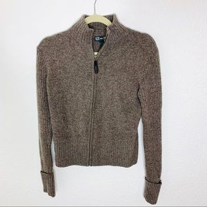 NWOT REI Lambswool ZIP Brown Cardigan sz Medium